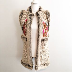 TopShop Embroidered Faux-Fur Sweater Vest